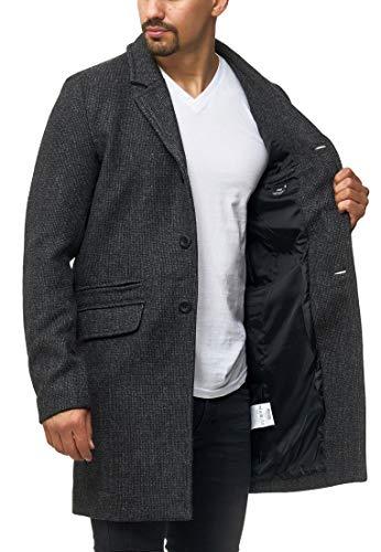 Indicode Herren Ilchester Wollmantel mit Stehkragen einfarbig, melliert oder im Tweed Karo-Muster | Herrenmantel Wintermantel Lange Übergangsjacke Winterjacke Mantel für Männer Black Mix XL