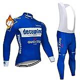 CHHBS Hommes Toison Thermique Maillot Cycliste Hiver,MTB Hommes Manche Longue Vêtements de Cyclisme (Bleu, S)