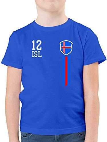 Fußball-Europameisterschaft 2021 Kinder - 12. Mann Island Fanshirt - 152 (12/13 Jahre) - Royalblau - Fußball - F130K - Kinder Tshirts und T-Shirt für Jungen
