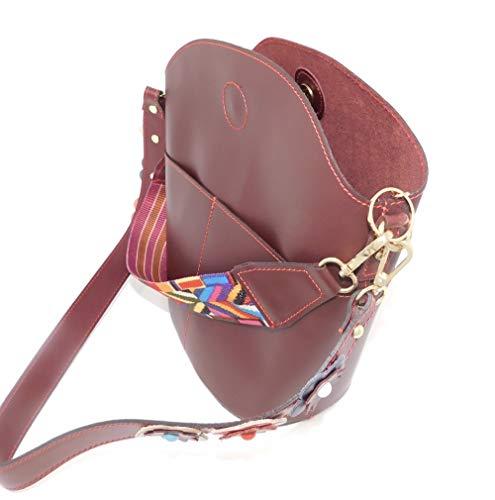 Luca Lorenzo Stylische bordeaux-rote Handtasche/Henkeltasche/Woman Bag mit rot abgesetzten Nähten - handmade in Italy