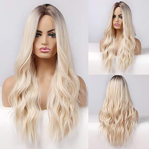 HAIRCUBE Longues Perruques Blondes pour Femmes Perruque Couleur Ombrée Cheveux Bouclés Synthétiques avec Séparation Moyenne Enracinée Foncée
