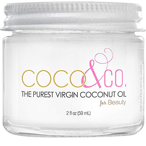 Extremely Pure, Odorless & Clear Coconut Oil for Skin & Hair, Beauty Grade - Mini Jar, by COCO & CO. (2oz)