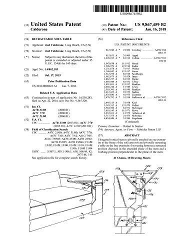 Retractable sofa table: United States Patent 9867459 (English Edition)