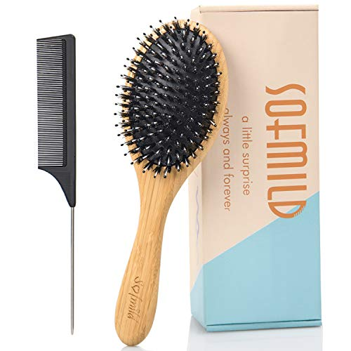 Hair Brush, Boar Bristle Hair Brushes for Women, Men, Kids. Oval Bamboo Paddle Nylon&Boar Bristle Brush for Thick Fine Curly Thin Hair Reduce Frizz Make your Hair Smooth, Bouncy, and Shiny.