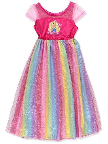 Barbie Girl's Rainbow Dress Up Fantasy Gown Nightgown Pajamas (6, Pink/Multi)