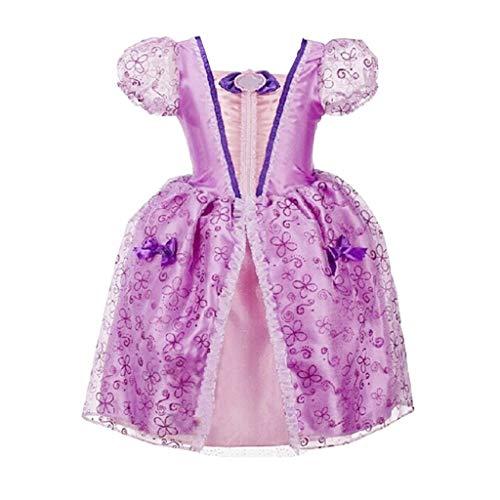 Haoheyou 2020 Nuevo Disfraces De Princesa Rapunzel para NiñAs Vestidos De Princesa para NiñAs Vestido De Fiesta Elegante Cosplay Carnaval Fiesta Disfraz Disfraces (4-5 años, Púrpura #)