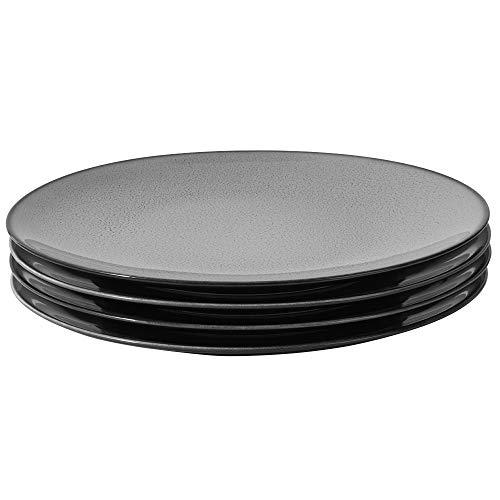 ProCook Del Mar Speiseteller - 4-teilig - Porzellan - Grau - reaktive Glasur - Teller - Essteller