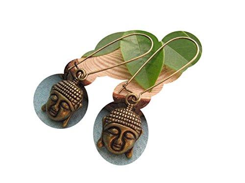 2Pairs Bronze Buddha Earrings, Tribal Earrings, Indian Earrings, Bohemian Earrings, Zen Jewelry, Ethnic Earrings