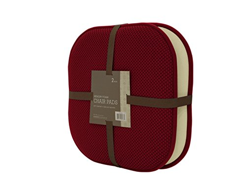 GoodGram 2 Pack Non Slip Ultra Soft Chenille Premium Comfort Memory Foam Chair Pads/Cushions - Assorted Colors (Country Burgundy)