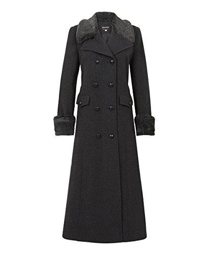 Anastasia Damen Winter Wolle Cashmere langen Mantel mit Kunstpelzkragen, Schwarz, Größe 42