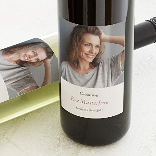 sendmoments Flaschenetiketten, Hey, Aufkleber, Weinetiketten, selbstklebend, personalisiert mit Text & Foto zum Geburtstag, Label für Flaschen, als Geschenk, Hochformat, ab 10 Stück
