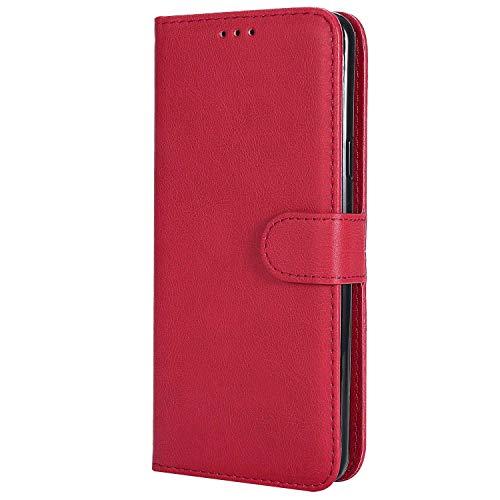 Bear Village® Hülle für Samsung Galaxy S9 Plus, Flip Leder Handyhülle Tasche mit Kartensfach, TPU Innere Ledertasche, 360 Grad Voll Schutz, Rot