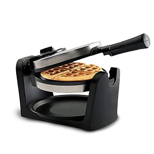 950W multifunción Wafflera,180 ° Waffle tirón Fabricante,Acero Inoxidable Waffle Hierro con Placas de Control de Temperatura y antiadherentes,de Doble Cara para la calefacción Mullido de Oro