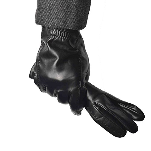 YISEVEN Guantes Hombre Invierno de Cuero de Oveja Piel de corder Dedo Completo Cálidos Forroda de Lana Corto Térmico Muñeca con de botón Conducción moto Ciclismo regalo
