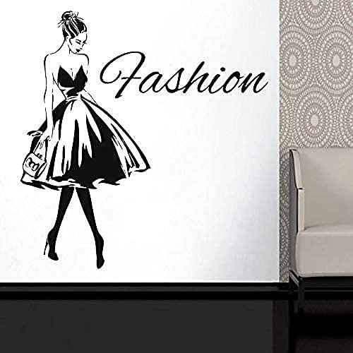 Corte De Pelo Belleza Etiqueta De La Pared Diseño De Chica Sexy Etiqueta De La Pared Chica Elegante Tacones Altos Etiqueta De Vinilo Ropa Boutique Ventana Tienda Mural Diy 57X59Cm