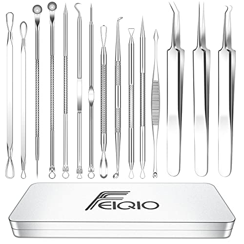 2021 Latest 15 PCS Blackhead Remover Tools, Pimple Popper Tool Kit, Acne Extractor Tool , Professional Stainless Pimple Acne Blemish Removal Tools Set...