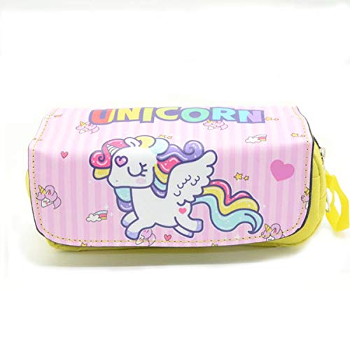 Shager - 1pcs Grande Estuches Unicornio Chicas Chicos Niños, Algodón y Lino Lápiz Cosmética con Cremallera Caja Case Escolar 22 * 10 * 7cm