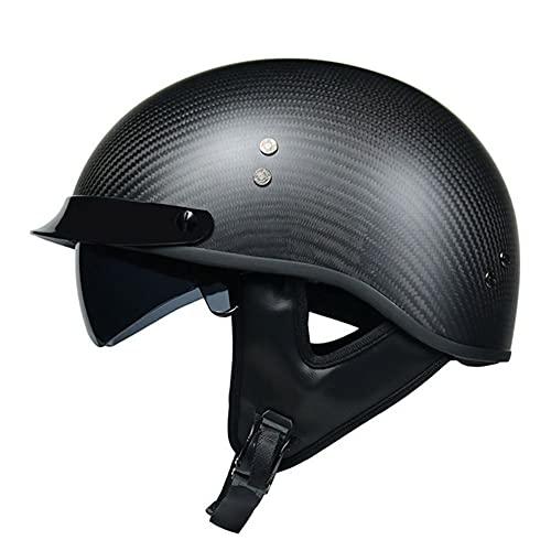 BBYBK Casco de fibra de carbono para motocicleta Cruiser DOT/ECE aprobado para adultos, para hombres y mujeres, casco de crash de media concha, XL (59 ~ 60 cm)
