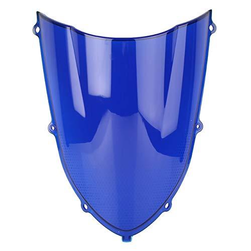 Parabrisas de Motocicleta Parabrisas De Motocicleta Parabrisas Parabrisas Doble Burbuja En Forma Fit For Kawasaki ZX-10R 04 05 Plástico ABS De Motocicleta Parabrisas de Motocicleta (Color : Blue)