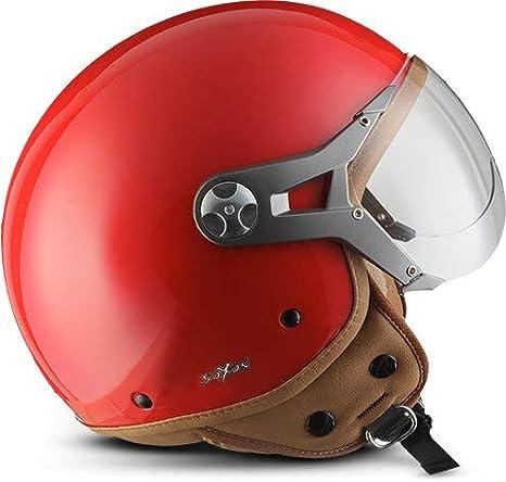 SOXON NTNK N325 Mono Night /· Open-Face-Helmet /· Motorcycle Half-Face Jet Pilot Motor-Bike Scooter Biker Retro Chopper Cruiser Vintage Bobber /· DOT Approved /· XS XL