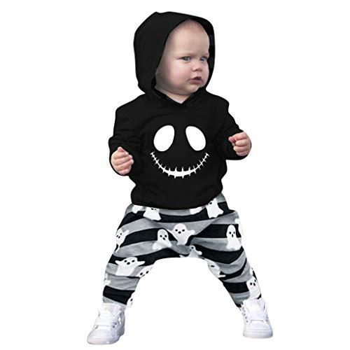 H.eternal(TM) Baby Jungen Halloween Cartoon Totenkopf Kapuzenpullover + gestreifte Hose, Outfits Kinder Kleidung Anzug Gr. 92, Schwarz