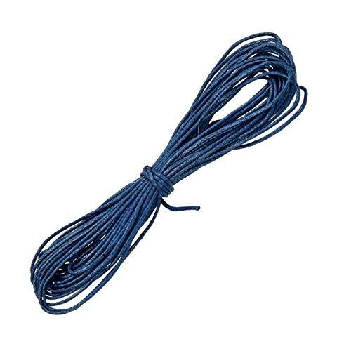 Cordón de algodón Encerado ø 1 mm / 6 m Azul, Cuentas de Madera