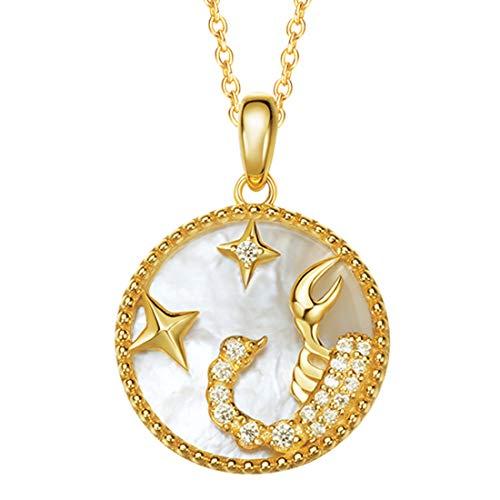 FANCIME Plata de Ley 925 Collar Collar Fritillary Doce Constelaciones Collar de Escorpio, con Hermoso Joyería Regαlo de Navidad Cumpleaños de San Valentín Aniversario para Mujer Niña
