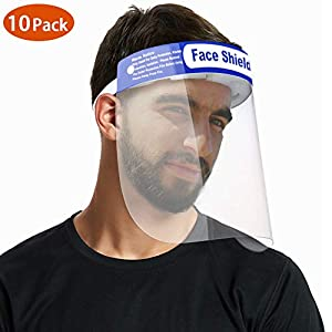 Xergur Safety Face Shield Disposable - Adjustable Anti-fog Protect Face Shield, Comfort Spong Safety Face Shield Protect Eyes and Mouth (10Packs)