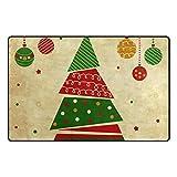 DEZIRO tapetes de Piso para árbol de Navidad y Adornos, Estilo Vintage, para el hogar, Entrada, Pasillo, Alfombra, Zapatos, rasqueta, Antideslizante, Lavables, poliéster, 1, 60 x 39 Inch