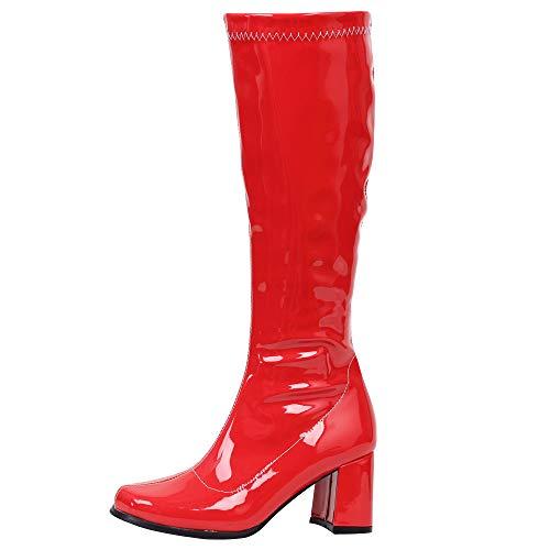 Gogo Stiefel für Frauen, kniehohe Stiefel, PU Leder Reißverschluss Damen Party Tanzschuhe, Rot (Rot glänzend), 39 EU