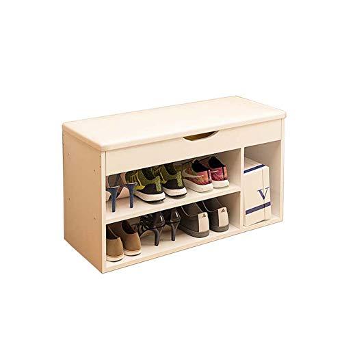 Comfortabel huis 2-laags schoenenkast, natuurlijke hoge dichtheid houten plank voor duurzaamheid, 6 paar schoenen, zacht kussen 80 X 30 X 43 cm