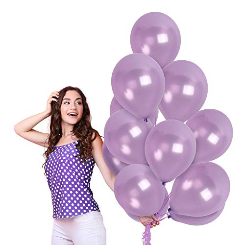 Chrome Metallic Lilac Purple Balloons 36 Pack 12 Inch Latex Lavender Winter Wonderland Decorations for Baby Shower Birthday Party Wedding Engagement Graduation Bachelorette Party Decorations