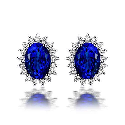 ANAZOZ Silver Blue Earrings for Women for Wedding,Earrings 18K White Gold Oval Flower 1.32ct Blue Tanzanite 0.24ct Diamond