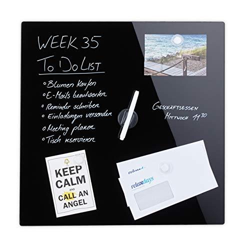 Relaxdays Pizarra, Puede Escribir, Incluye 3 imanes y bolígrafo, borrable, sin Marco, Cristal magnético, 50 x 50 cm, Color Negro