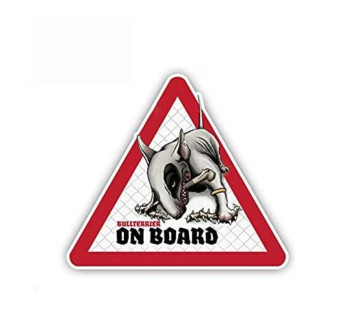 MDGCYDR Autoaufkleber 12Cm * 10Cm Bullterrier Hund Auto Auto Aufkleber Hund An Bord Aufkleber Haustier Hund Aufkleber Hund Warnschild Humorvolle Aufkleber PVC,
