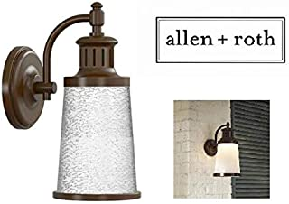 Allen & Roth Outdoor LED Wall Lantern Everdene Bronze with Frosted Crackle Shade
