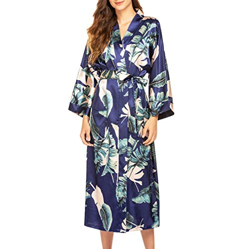 VALICLUD Mujeres Satén de Seda de Manga Larga Bata Kimono Bata Albornoz Pijamas Dama de Honor Ropa de Dormir Camisón Ropa de Dormir
