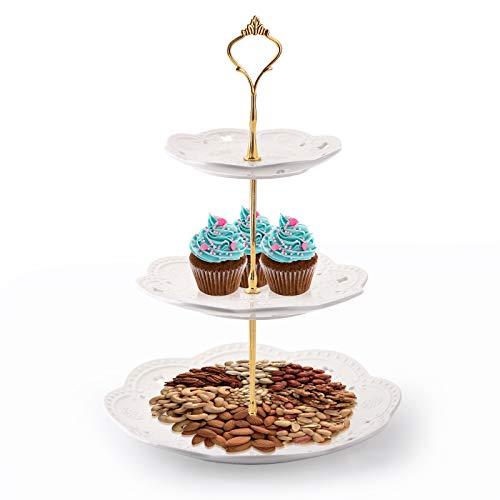 Tebery Houseware - Alzata per torta in ceramica con manico dorato in porcellana, con supporto a 3 ripiani
