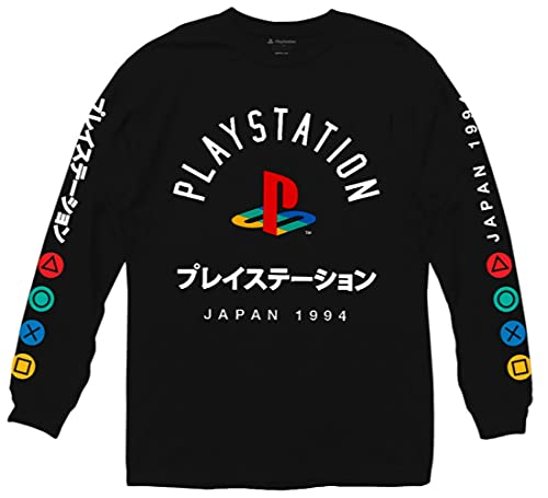 Ripple Junction Men's Playstation Logo Long-Sleeve Shirt with Japanese Characters, Black