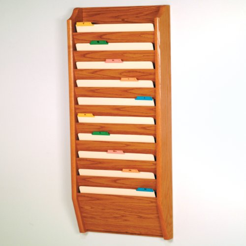 Wooden Mallet 10-Pocket File Holder, Legal Size, Medium Oak