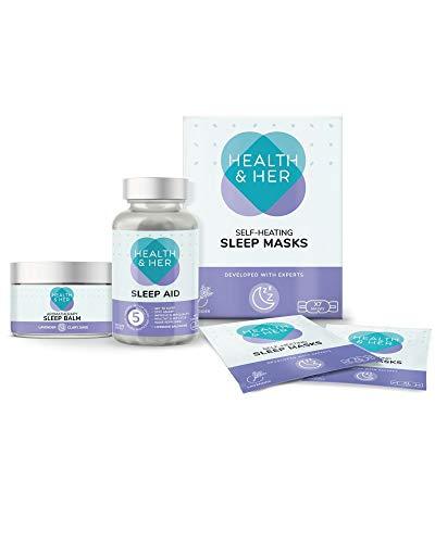 Health & HER Sleep Support Bundle containing Health & HER Sleep Supplement -1 Months Supply, Sleep Masks x7 Masks & Sleep Balm