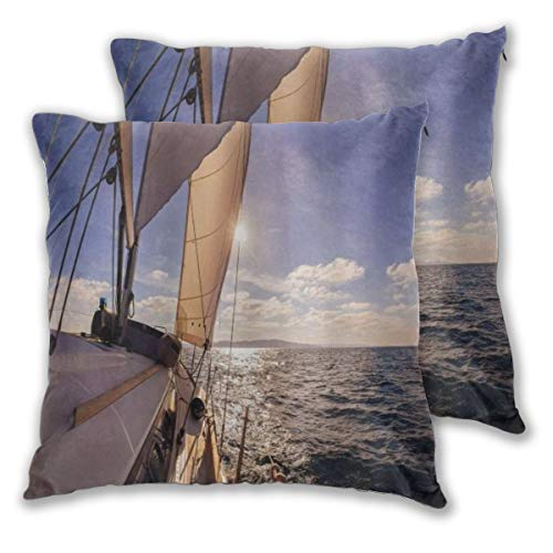 SAIAOS Decorative Throw Pillow Covers 55x55cm,Sailboat Nautical Sailing Boat Wide Sea Sunbeams Ship Lifestyle Seascape,Set of 2,Sofa,Couch Chair Square Pillow Covers for Cushion