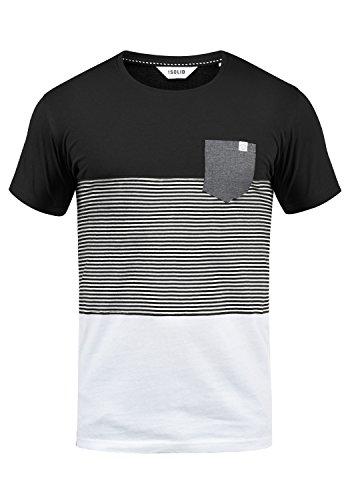 !Solid Malte Herren T-Shirt Kurzarm Shirt Mit Streifen Und Rundhals, Größe:XL, Farbe:Black (9000)
