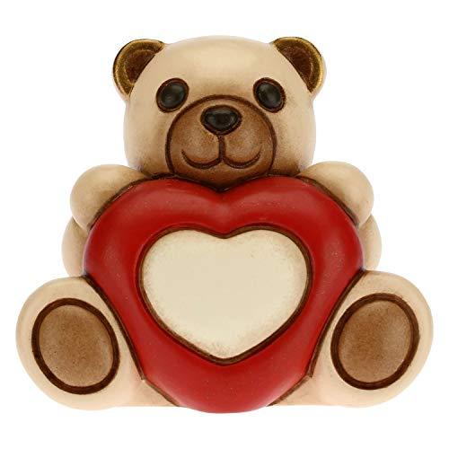 THUN - Soprammobile Teddy Love con Cuore - Idea Regalo per Il Giorno degli Innamorati - Formato Piccolo - Soprammobile da Collezione - Linea Tell Me Your Love - Ceramica - 6 x 5,3 x 5 h cm