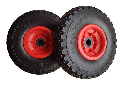 Frosal PU Rad Sackkarre 260 mm 3.00-4   Nabe 20mm/60mm   Sackkarrenrad Vollgummi   Ersatzrad Bollerwagen pannensicher   Reifen (2 Stück)