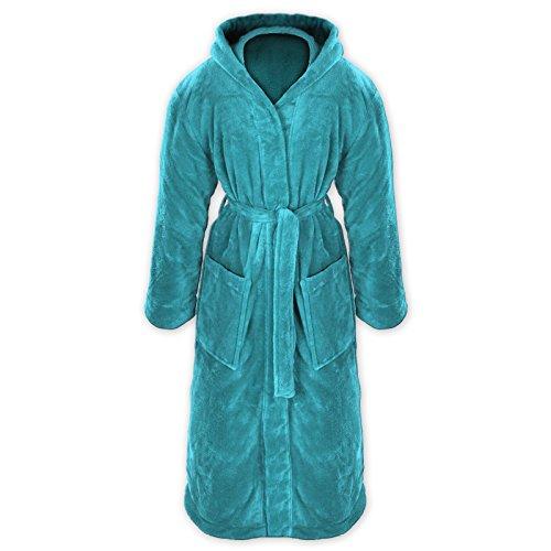 Gräfenstayn® Damen & Herren Kuschelfleece Bademantel mit Kapuze Größe S-XXXL Öko-Tex Standard 100 Flanell Fleece (S, Türkis)