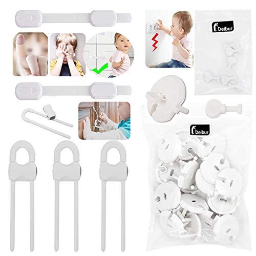 36pcs, Caches Prises pour Enfant Sécurité (25 caches prises + 6 clés); 3 serrures d'armoire en forme de U; 2 serrures multifonctions 3M)