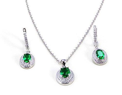 Plata de ley chapado en platino con creado Esmeralda & Diamante Neckace y pendientes Set