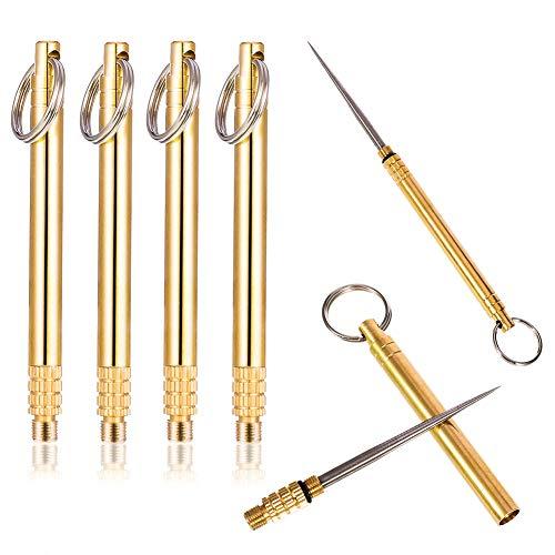 Rubywoo&chili 4 Stücke Tragbar Zahnstocher, Titanium Toothpick Zahnstocher, Camping-Zahnstocher für den Außenbereich mit Schlüsselanhänger Reise