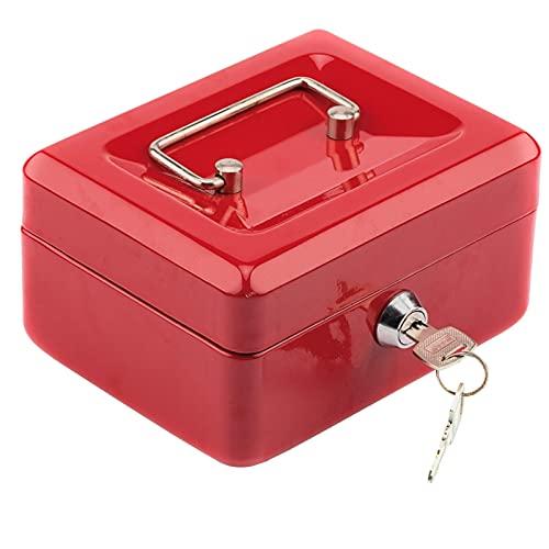 zhengyang Hucha de acero inoxidable pequeña caja de seguridad roja (color: rojo)